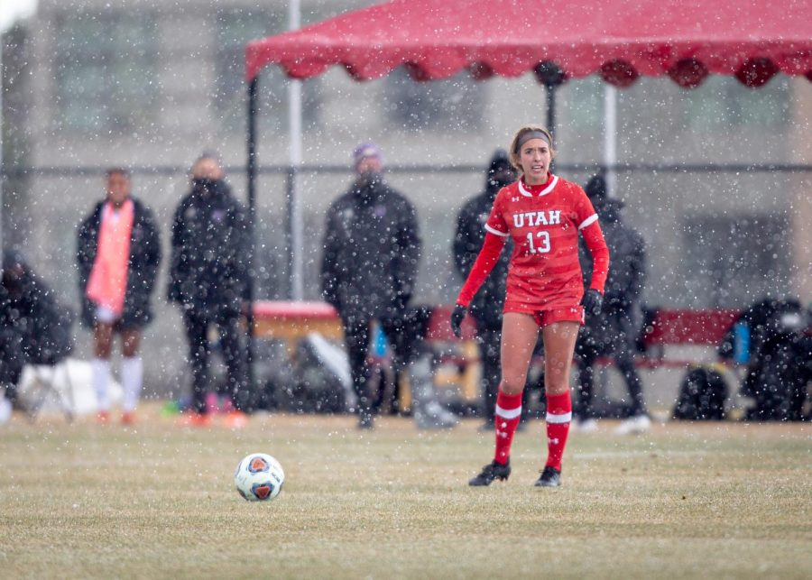 University of Utah's Kylee Geis (So. midfielder, #13) during a game against the Washington Huskies on March 26, 2021 at Ute Field on campus. (Photo by Jack Gambassi | Daily Utah Chronicle)