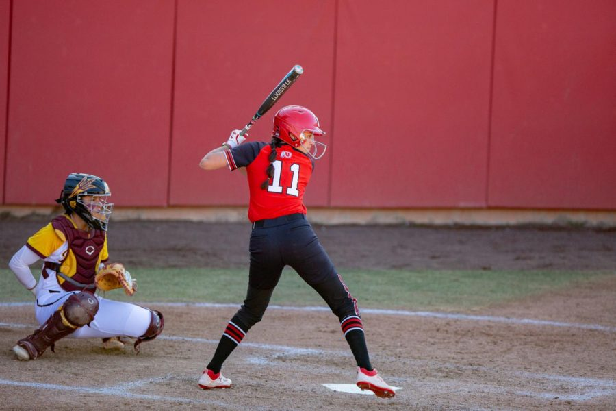 Junior outfielder, Jordyn Gasper (#11), during the Utes' game against the ASU Sun Devils on April 2, 2021 at the Dumke Family Softball Stadium on campus. (Photo by Jack Gambassi | Daily Utah Chronicle)