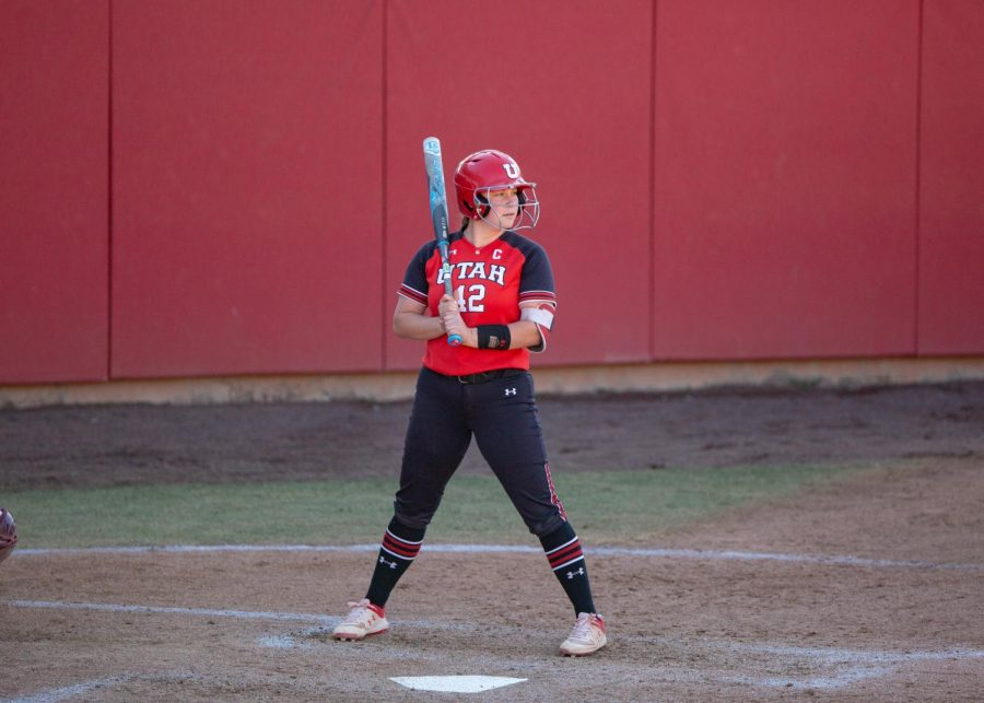 Senior infielder, Alyssa Palacios (#42), during the Ute's game against the ASU Sun Devils on Apr 2, 2021 at the Dumke Family Softball Stadium on campus. (Photo by Jack Gambassi | The Daily Utah Chronicle)