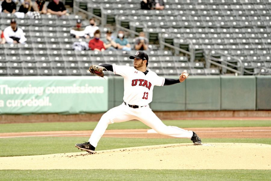 University of Utah graduate student, pitcher Kyle Robeniol, in a game vs. the Arizona State University Sun Devils at Smith's Ballpark on Saturday, April 24, 2021. (Photo by Kevin Cody | Daily Utah Chronicle)