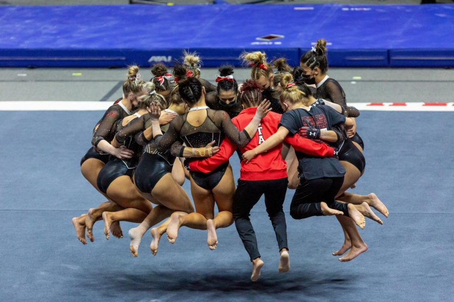 University of Utah Red Rocks in a NCAA Women's Gymnastics meet vs. UCLA at the Jon M. Huntsman Center in Salt Lake City, Utah on Friday, Feb. 19, 2021. (Photo by Kevin Cody | Daily Utah Chronicle)