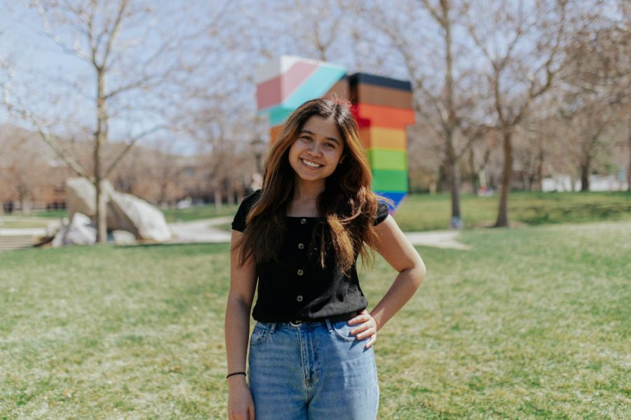 Sonia Weglinski shares her experience as an Asian American. April 3, 2021 on campus in Salt Lake City (Photo by Maya Fraser | The Daily Utah Chronicle)