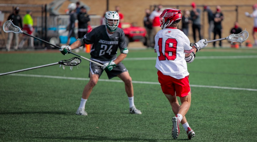 University+of+Utah+freshman+and+Utes+Lacrosse+team+attacker+Ryan+Rogers+passes+the+ball+during+an+NCAA+game+vs.+the+Jacksonville+Dolphines+in+Salt+Lake+City+on+March+6%2C+2021+%28Photo+by+Abu+Asib+%7C+The+Daily+Utah+Chronicle%29