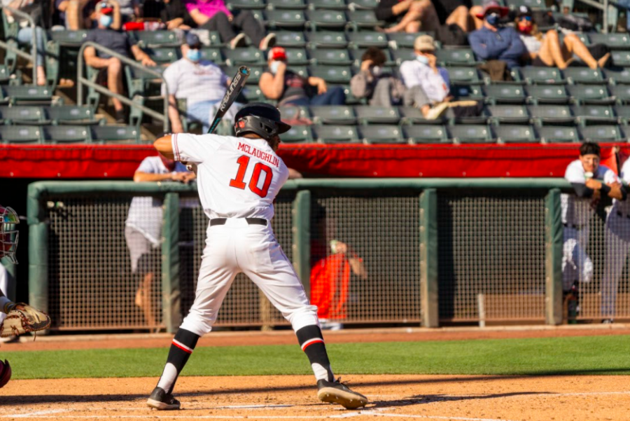 University of Utah graduate student Jaylon McLaughlin(10) in a NCAA Baseball game vs. Washington State at Smith's Ballpark in Salt Lake City, Utah on Saturday, April. 10, 2021. (Photo by Kevin Cody | The Daily Utah Chronicle)
