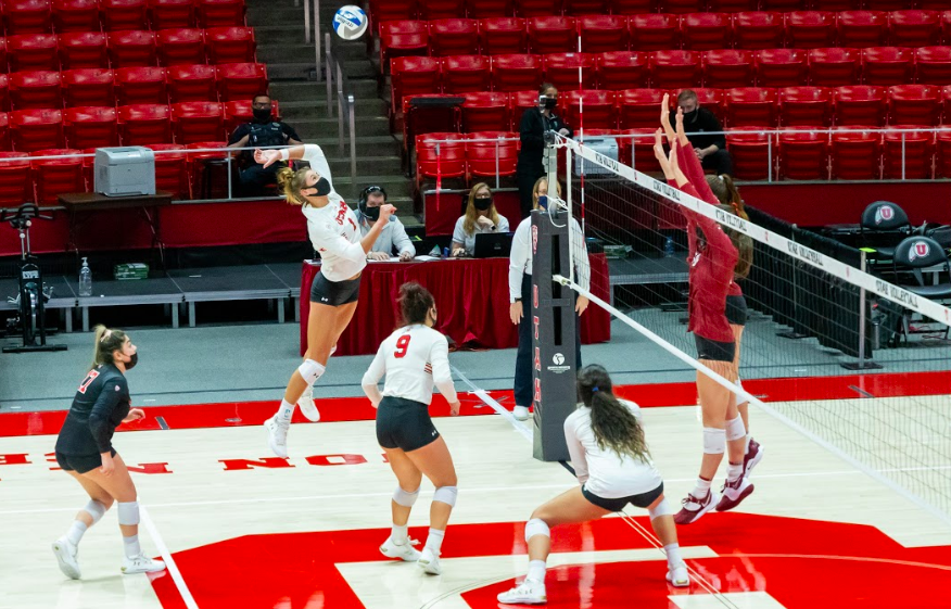 University of Utah senior Dani Drews (1) in a NCAA Women's Volleyball game vs. the Stanford Cardinal at the Jon M. Huntsman Center in Salt Lake City, Utah on Sunday, March 7, 2021. (Photo by Kevin Cody | Daily Utah Chronicle)