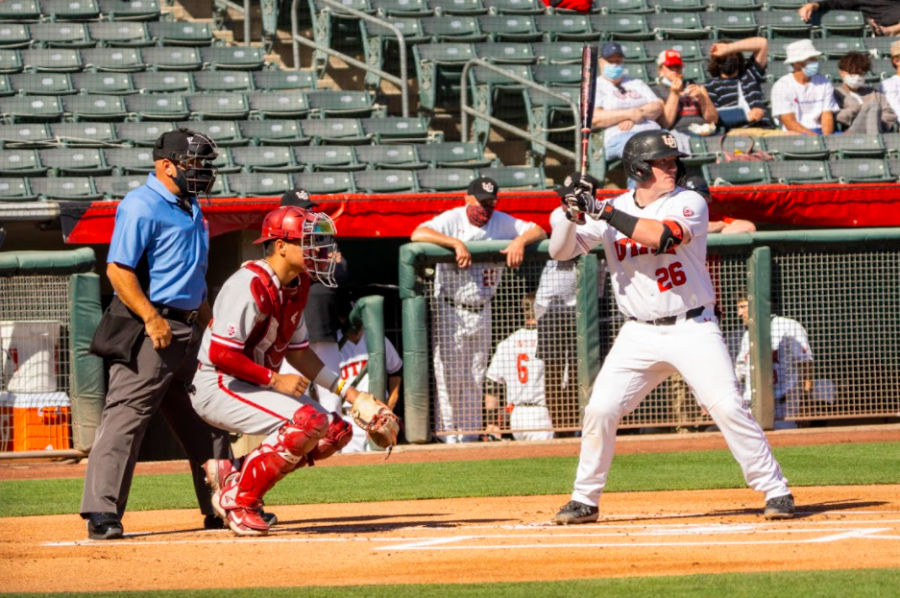 University of Utah redshirt Sophomore Jayden Kiernan (26) in a NCAA Baseball game vs. Washington State at Smith's Ballpark in Salt Lake City, Utah on Saturday, April 10, 2021. (Photo by Kevin Cody | Daily Utah Chronicle)
