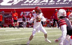 University of Utah quarterback, senior, Charlie Brewer in the University of Utah Spring Football Game on Saturday, April 17, 2021. (Photo by Kevin Cody | Daily Utah Chronicle)