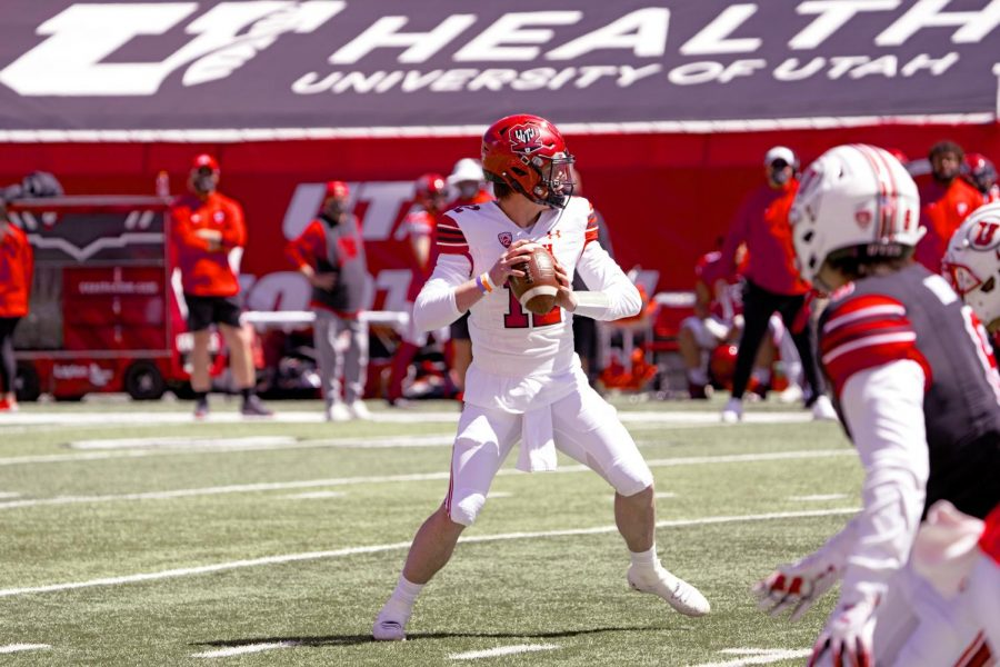 University of Utah quarterback, senior, Charlie Brewer in the University of Utah Spring Football Game on Saturday, April 17, 2021. (Photo by Kevin Cody | Daily Utah Chronicle)