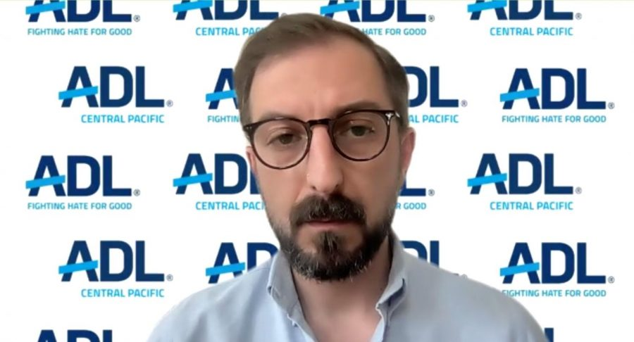 Vlad Khaykin, National Director of Programs on Antisemitism for the Anti-Defamation League, delivers the keynote address on April 9, 2021 for the virtual