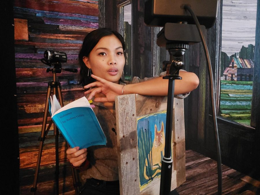 Reanne Acasio prepares to film Salt Lake Acting Company's virtual production of