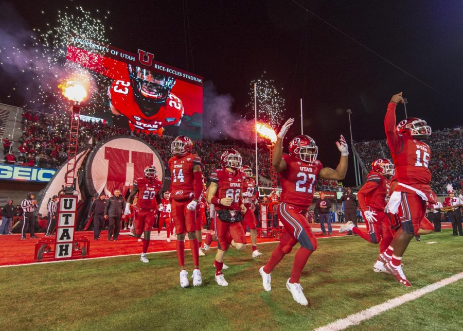 The University of Utah runs onto the field during an NCAA football game vs. the Brigham Young University Cougars at Rice-Eccles Stadium in Salt Lake City, Utah on Saturday, Nov. 24, 2018. (Photo by Kiffer Creveling | The Daily Utah Chronicle)