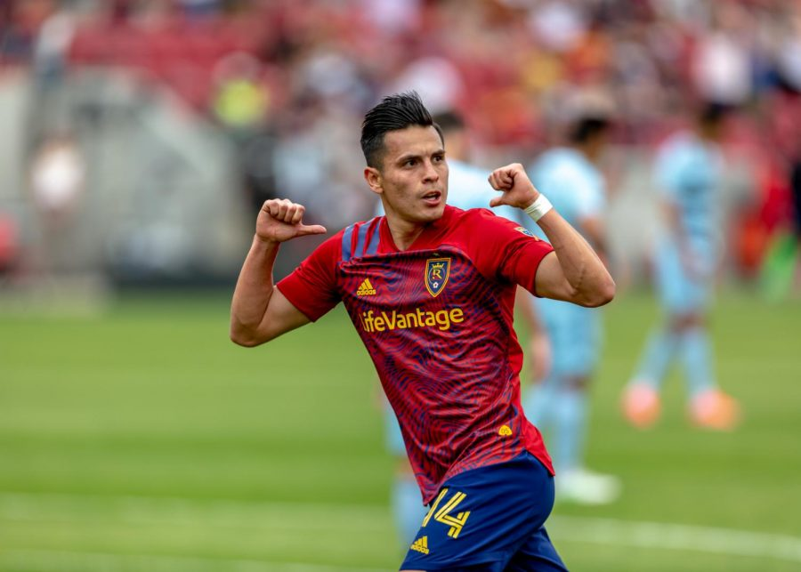 Real Salt Lake forward Rubio Rubin (No. 14) celebrates his second goal during the 2021 season's home opener versus Sporting Kansas City at Rio Tinto Stadium in Sandy, Utah on May 1, 2021. (Photo by Jack Gambassi | Daily Utah Chronicle)