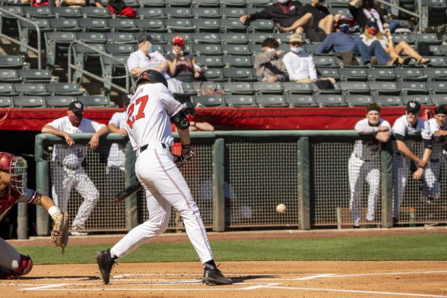 University of Utah freshman Kai Roberts (No. 27) in a NCAA baseball game vs. Washington State at Smith's Ballpark in Salt Lake City, Utah on Saturday, April 10, 2021. (Photo by Kevin Cody | Daily Utah Chronicle)