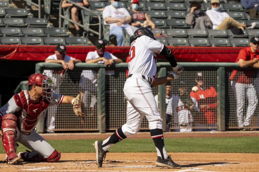 University of Utah graduate student Jaylon McLaughlin (10) in a NCAA Baseball game vs. Washington State at Smith's Ballpark in Salt Lake City, Utah on Saturday, April 10, 2021. (Photo by Kevin Cody | Daily Utah Chronicle)