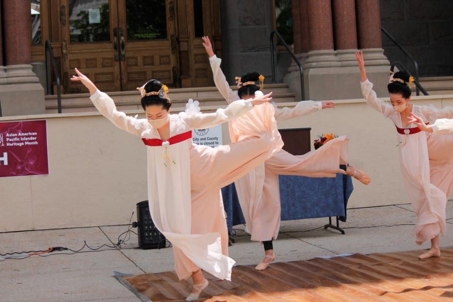 SLC Ballet Classical Chinese dancers perform at the AAPI Heritage Month Celebration Rally at Washington Square Park in Salt Lake City on May 22, 2021. (Photo by Natalie Colby   Daily Utah Chronicle)