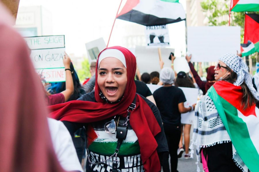 Protesters chant in the streets as they march from the Wallace F. Federal building to the Gallivan Center in Salt Lake City on May 22, 2021. (Photo by Natalie Colby   Daily Utah Chronicle)
