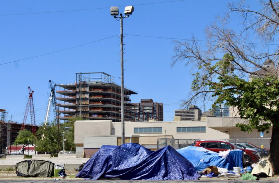 A tent city built by the homeless in Salt Lake City on Sunday, May 30, 2021. (Photo by Brooklyn Critchley | Daily Utah Chronicle)