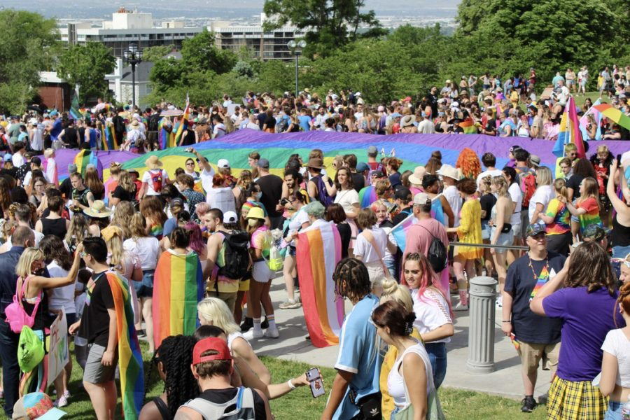 Members and allies of the LGBTQIA+ community gather for the Pride Rally at Capitol Hill in Salt Lake City on Sunday, June 6, 2021 (Photo by Brooklyn Critchley | Daily Utah Chronicle)