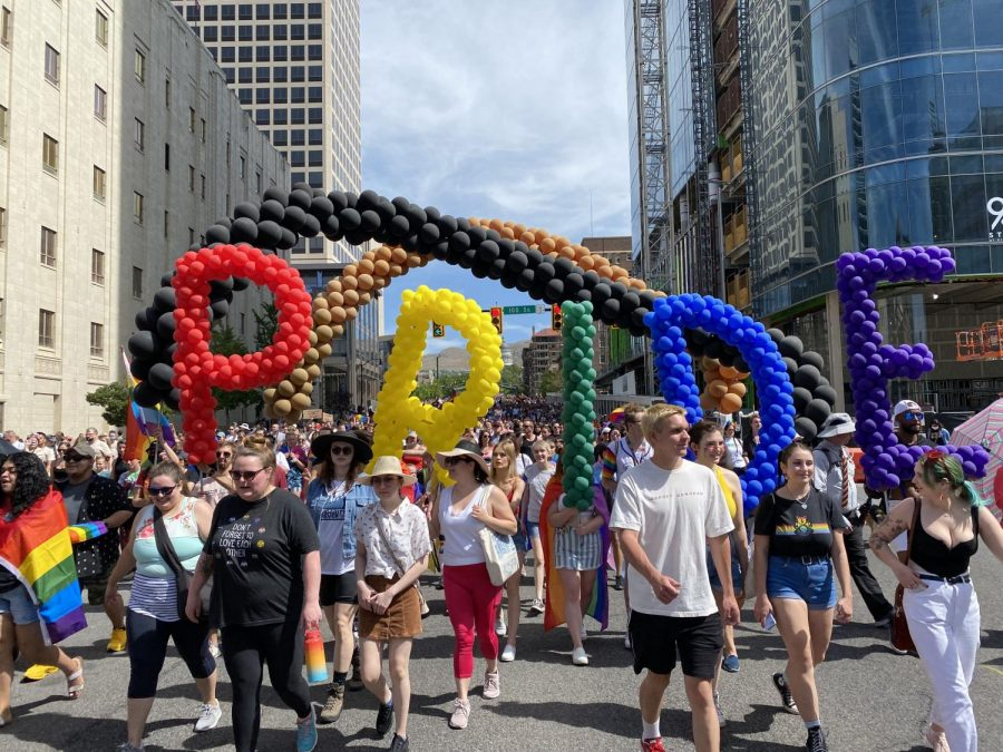 A balloon display is marched down State St. in Salt Lake City for the Pride march on June 6, 2021. (Photo by Jack Gambassi |The Daily Utah Chronicle)
