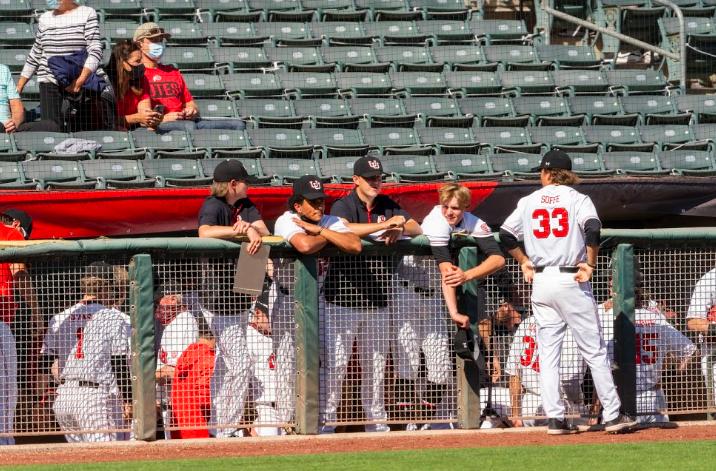 University of Utah baseball team in NCAA Baseball game vs. Washington State at Smith's Ballpark in Salt Lake City, Utah on Saturday, Apr. 10, 2021. (Photo by Kevin Cody | The Daily Utah Chronicle)