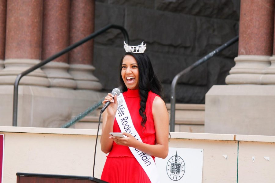 Sisilia Kaufusi speaks at the AAPI Heritage Month Celebration Rally at Washington Square Park in Salt Lake City on May 22, 2021. (Photo by Natalie Colby | The Daily Utah Chronicle)