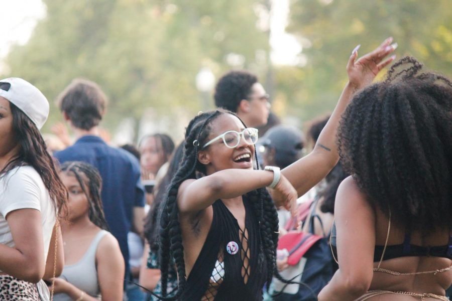 People dance at Liberty Park celebrating Juneteenth on June 19, 2021. (Photo by Natalie Colby | The Daily Utah Chronicle)