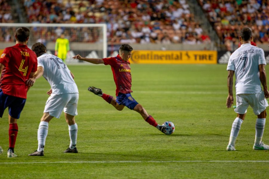 Real Salt Lake midfielder, Pablo Enrique Ruiz (6), in the match vs. LA Galaxy at Rio Tinto stadium in Sandy, Utah on July 21, 2021. (Photo by Jack Gambassi | The Daily Utah Chronicle)