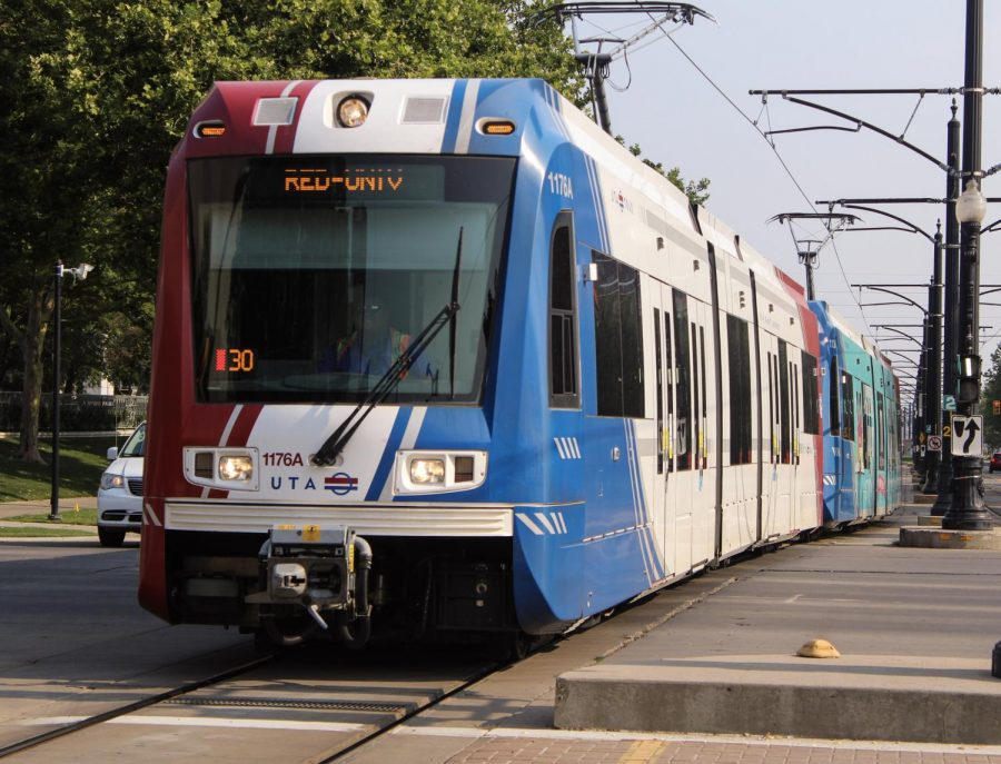 A UTA train passing through downtown Salt Lake on July 11, 2021. (Photo by Brooklyn Critchley | The Daily Utah Chronicle)