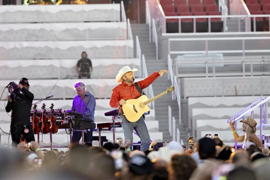 Garth Brooks on stage at his concert in Rice-Eccles Stadium July 17, 2021. (Photo by Kevin Cody   The Daily Utah Chronicle)