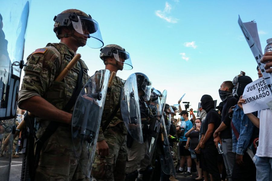 Protesters for the Black Lives Matter movement confront national guard on 500 S. 200 East in Salt Lake City on July 26, 2020. (Photo by Ivana Martinez | The Daily Utah Chronicle)