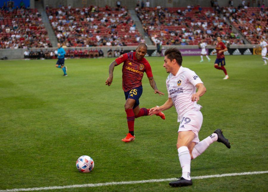 Real Salt Lake midfielder, Everton Luiz (25), in the match vs. LA Galaxy at Rio Tinto stadium in Sandy, Utah on July 21, 2021. (Photo by Jack Gambassi | The Daily Utah Chronicle)