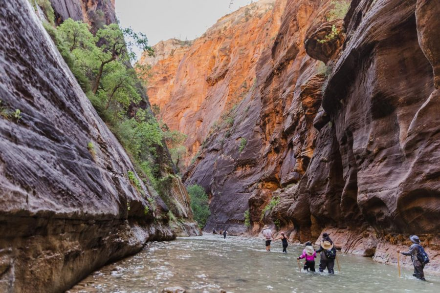 Visitors hike the narrows in Zion National Park in October 2020. (Photo by Silvana Peterson | The Daily Utah Chronicle)