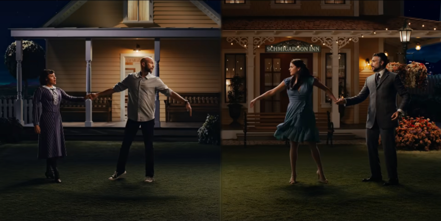 """Ariana DeBose, Keegan-Michael Key, Cecily Strong and Jaime Camil in the trailer for """"Schmigadoon!"""" (Courtesy Apple TV YouTube)"""