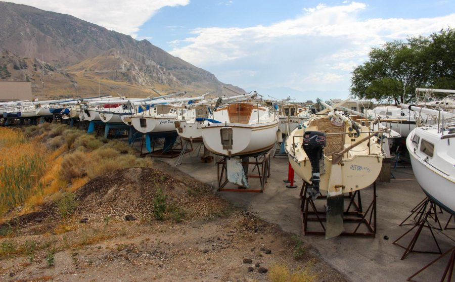 Boats pulled out of the marina at the Great Salt Lake State Park due to low water levels in Magna, Utah on July 28, 2021. (Photo by Gwen Christopherson | The Daily Utah Chronicle)