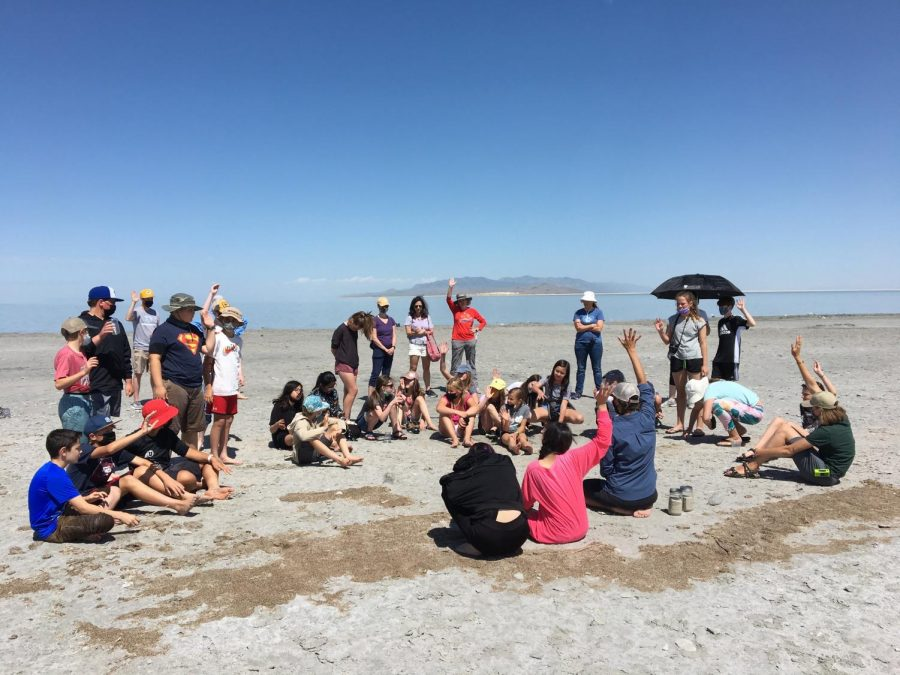 A fifth-grade science class joins FRIENDS of Great Salt Lake on a field trip to learn about the lakes ecosystem at Antelope Island State Park on June 24, 2020. (Photo by Gwen Christopherson | The Daily Utah Chronicle)