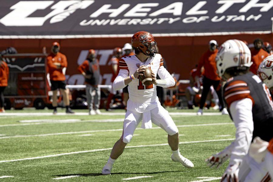University of Utah quarterback, senior, Charlie Brewer, in the University of Utah Spring Football Game on Saturday, April 17, 2021. (Photo by Kevin Cody | The Daily Utah Chronicle)