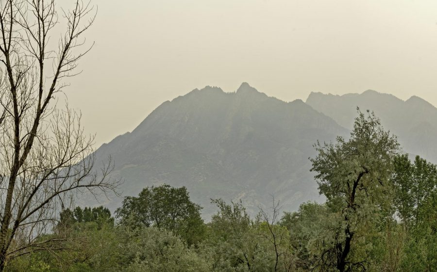 A view of the smoke covered peak of Mt. Olympus. Image was taken on Monday, Aug. 9, 2021. (Photo by Kevin Cody | The Daily Utah Chronicle)