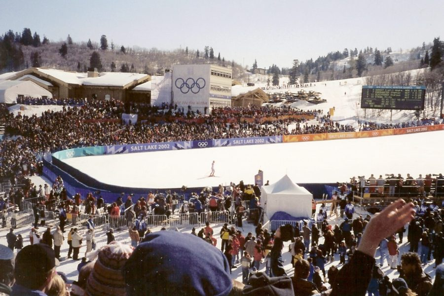 Mens super-G at Snowbasin Resort during the 2002 Winter Olympics. (Photo by Ken Lund | Courtesy Wikimedia Commons)