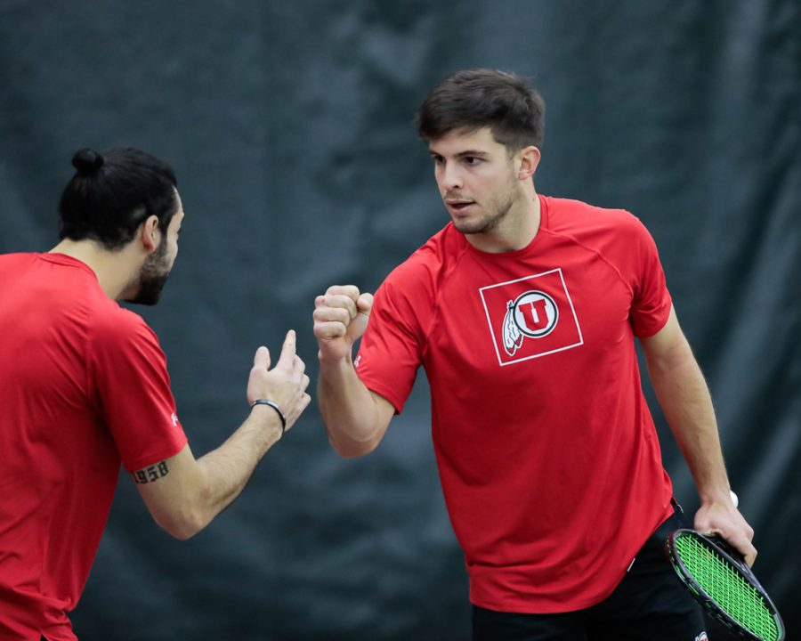 Utah Mens Tennis players Gernonimo Busleiman and Franco Capalbo celebrate their win in doubles during an NCAA dual meet against the Idaho State Bengals at the George Eccles Tennis Center in Salt Lake City on Jan  30, 2021 (Abu Asib | The Daily Utah Chronicle)