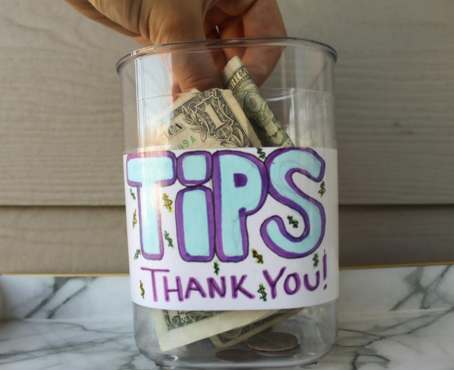 A tip jar in Salt Lake City, Utah on Tuesday, Sept. 21, 2021. (Photo by Brooklyn Critchley | The Daily Utah Chronicle)