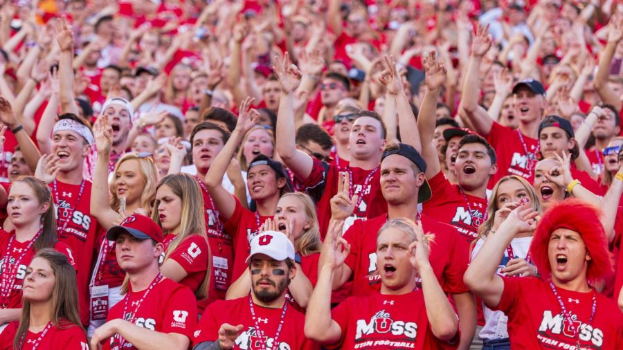The University of Utah student section, The Muss, cheers during an NCAA Football game vs. the Weber State Wildcats at Rice Eccles Stadium in Salt Lake City, Utah on Thursday, Aug. 30, 2018. (Photo by Kiffer Creveling | The Daily Utah Chronicle)