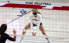 U of U Volleyball's Senior outside hitter, Dani Drews (#1), in the game vs. the USC Trojans on Feb. 14, 2021 at the Jon M. Huntsman Center on campus. (Photo by Jack Gambassi | The Daily Utah Chronicle)