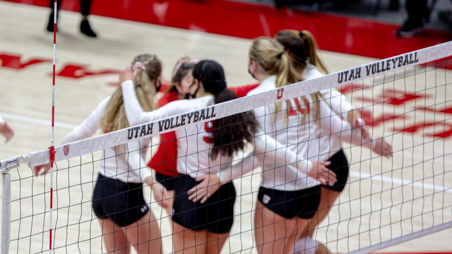 U of U Volleyball players during the game against Stanford on Mar 5, 2021 at the Jon M. Huntsman Center on campus. (Photo by Jack Gambassi | The Daily Utah Chronicle)