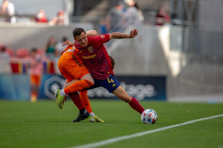 Real Salt Lake defender, Donny Toia (#4), in the match vs Houston Dynamo at Rio Tinto stadium in Sandy, UT on June 26, 2021. (Photo by Jack Gambassi | The Daily Utah Chronicle)