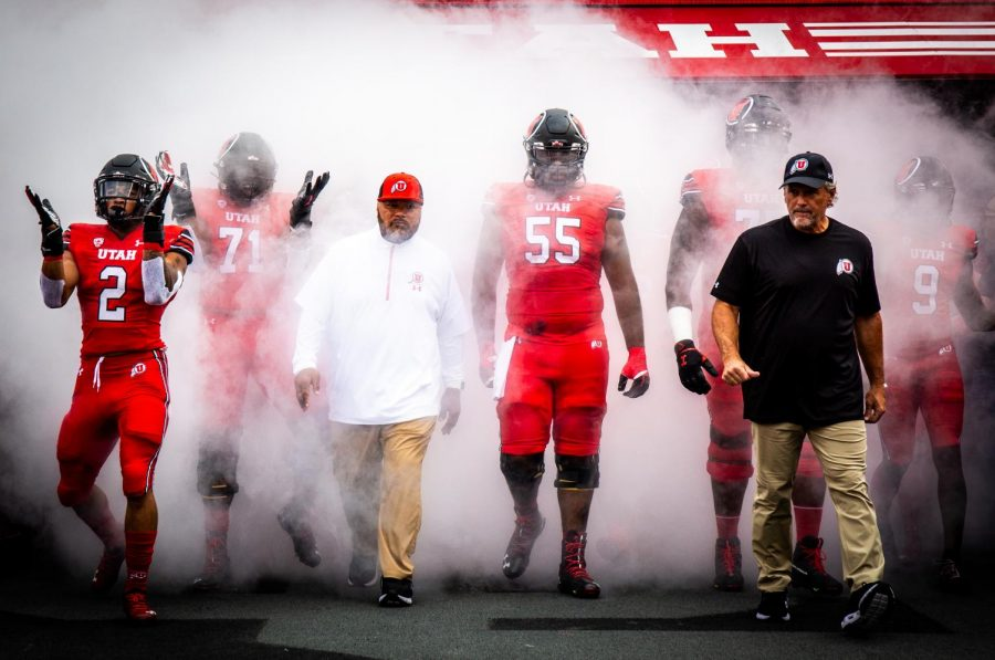 Utah Utes walks out of the Ken Garff red zone on their opening game against Weber State football in Salt Lake City on September 2, 2021. (Photo by Jonathan Wang | The Daily Utah Chronicle)