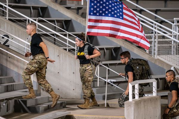 University of Utah Navy, Army and Air Force ROTC midshipmen and cadets honor the 20th anniversary of 9/11 by running the equvalent of 110 flights of stairs. (Photo Courtesy of Dave Titensor at The University of Utah)