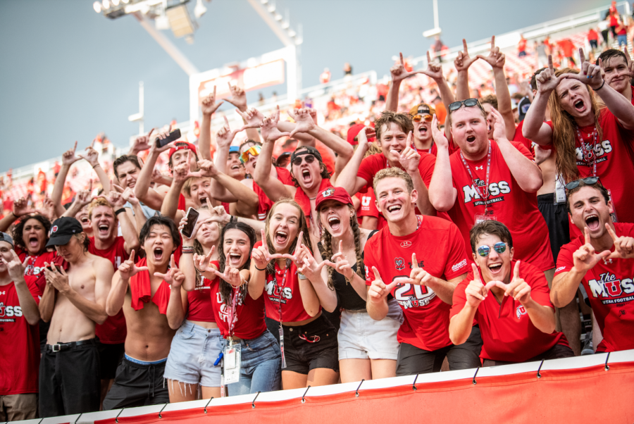 The MUSS (Mighty Utah Student Section) flashes the U at the football season opener in Salt Lake City on September 2, 2021. (Photo by Jonathan Wang | The Daily Utah Chronicle)