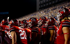 University of Utah players pepare for the game against BYU at LaVell Edwards Stadium in Provo, UT on Sept. 11, 2021. (Photo by Jack Gambassi | The Daily Utah Chronicle).