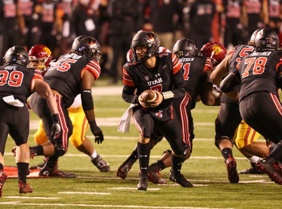 University of Utah sophomore quarterback Cameron Rising (7) in a NCAA Football game vs. University of Southern California at Rice-Eccles Stadium in Salt Lake City, UT on Saturday November 21, 2020.(Photo by Tom Denton | Daily Utah Chronicle)