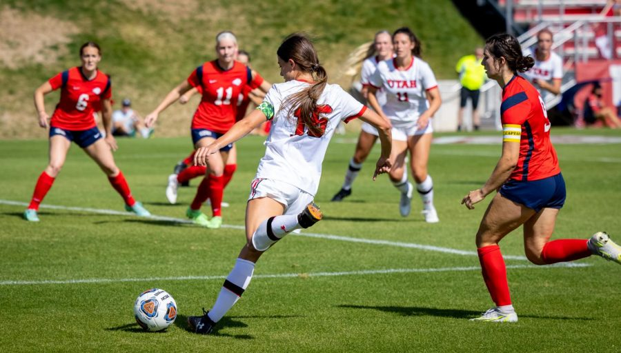 University+of+Utah+women%27s+soccer%27s+midfielder+Courtney+Talbot+%28%2316%29+plays+in+the+match+vs.+Dixie+State+at+Ute%27s+field+on+the+University+of+Utah+campus+on+Sept.+12%2C+2021.+%28Photo+by+Xiangyao+%22Axe%22+Tang+%7C+The+Daily+Utah+Chronicle%29%0A